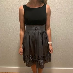 Black and gray special occasion belted dress